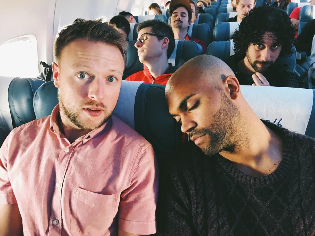 sleeping on plane trivago on tour