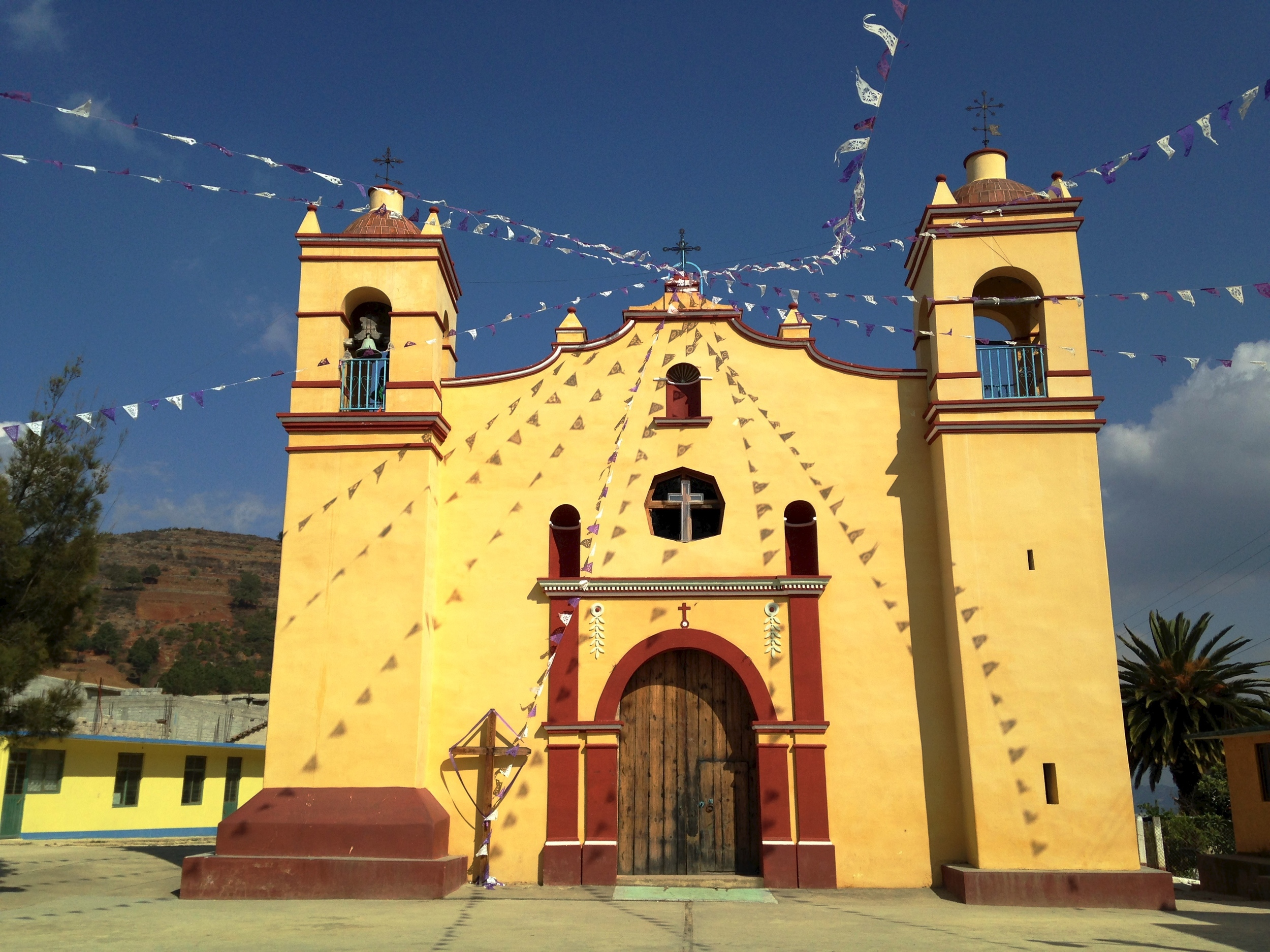 Catholic churches sit prominently in most towns and villages in Oaxaca ( Santa Ana Yareni)
