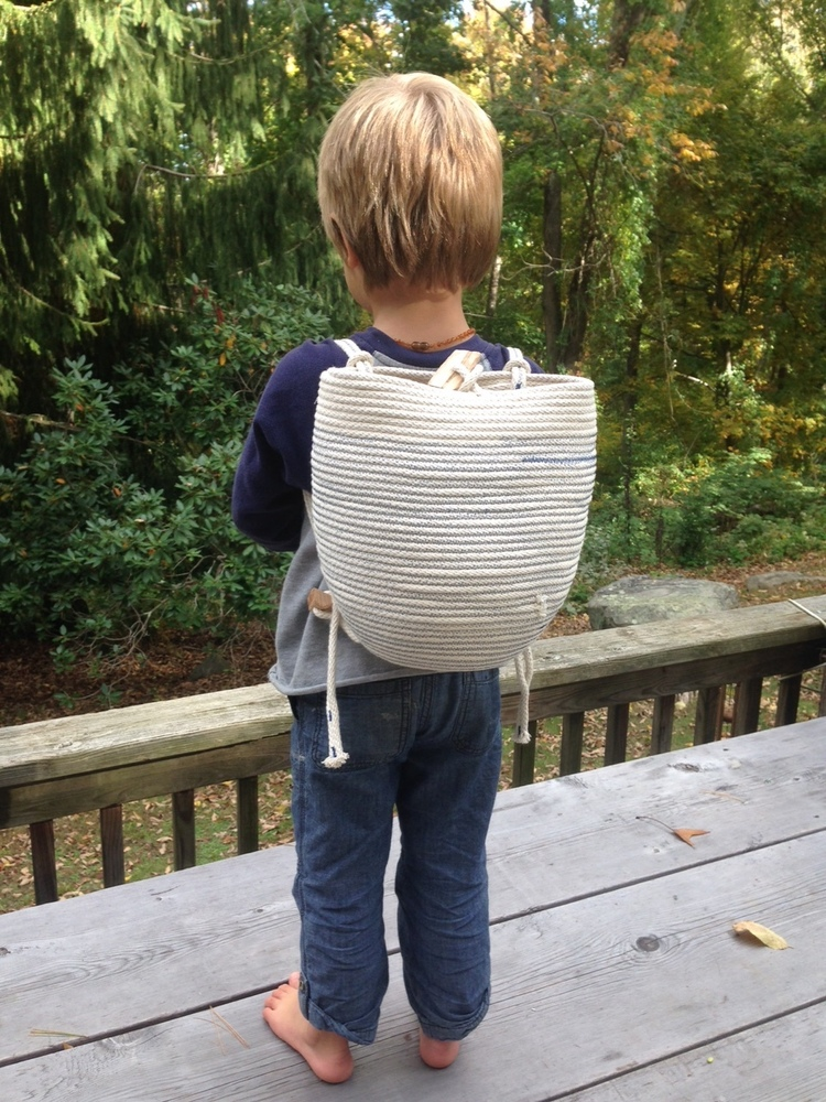 Coiled rope backpack for kids! (N. Totino Clark,  ColeMama Creations )