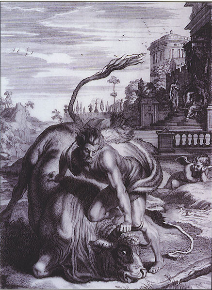 This is an engraving of Hercules performing one of his labors as he forces a bull to the ground. By B. Picart [Public domain], via Wikimedia Commons - if you depend on me I will try to pull the bull to the ground.