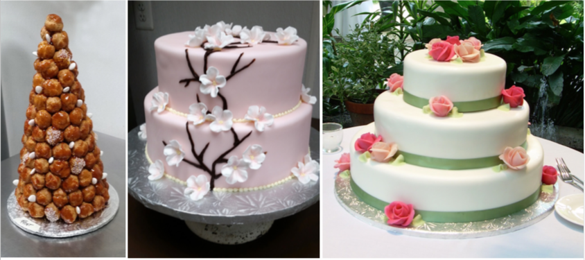 Let's talk about your wedding cake! - Not only will we make it beautiful, it will also taste great. We offer tiered cakes & croquembouches. Download our wedding catalog below for more informations.