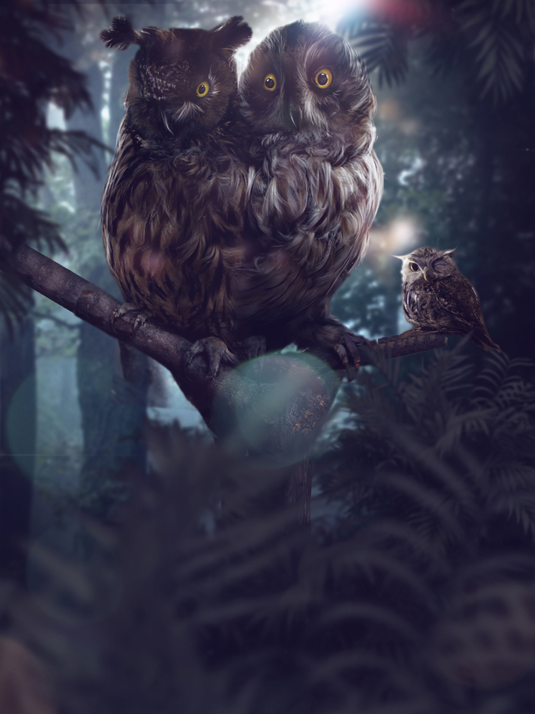 FED EX Enchanted Forest  Two Headed Owl