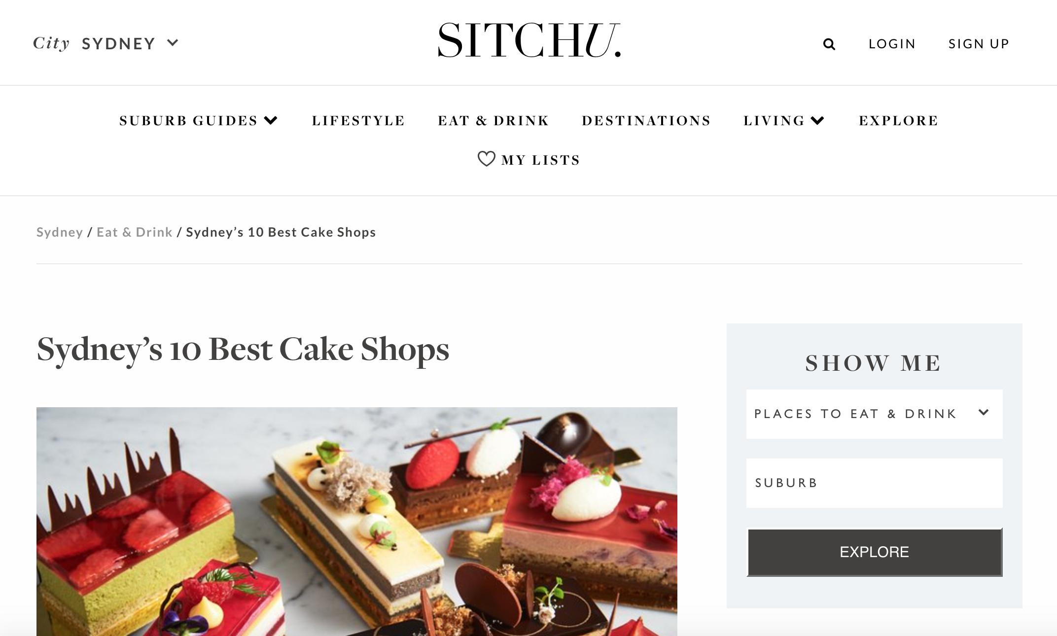 Sitchu: Sydney's 10 best Cake Shops
