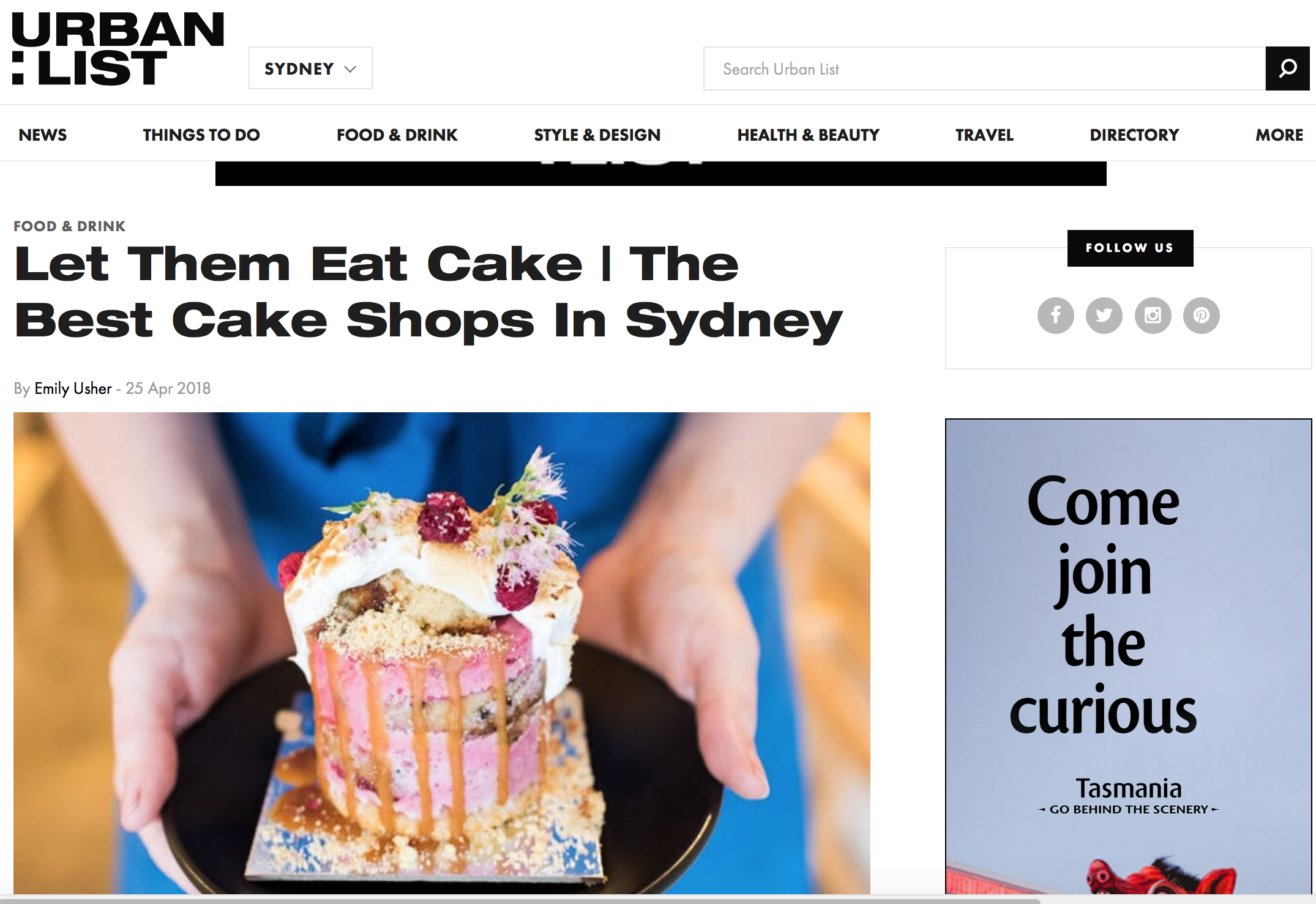 Urban List: The Best Cake Shops in Sydney