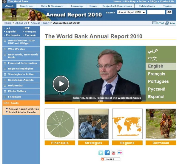 World Bank Annual Report 2010 / landing page