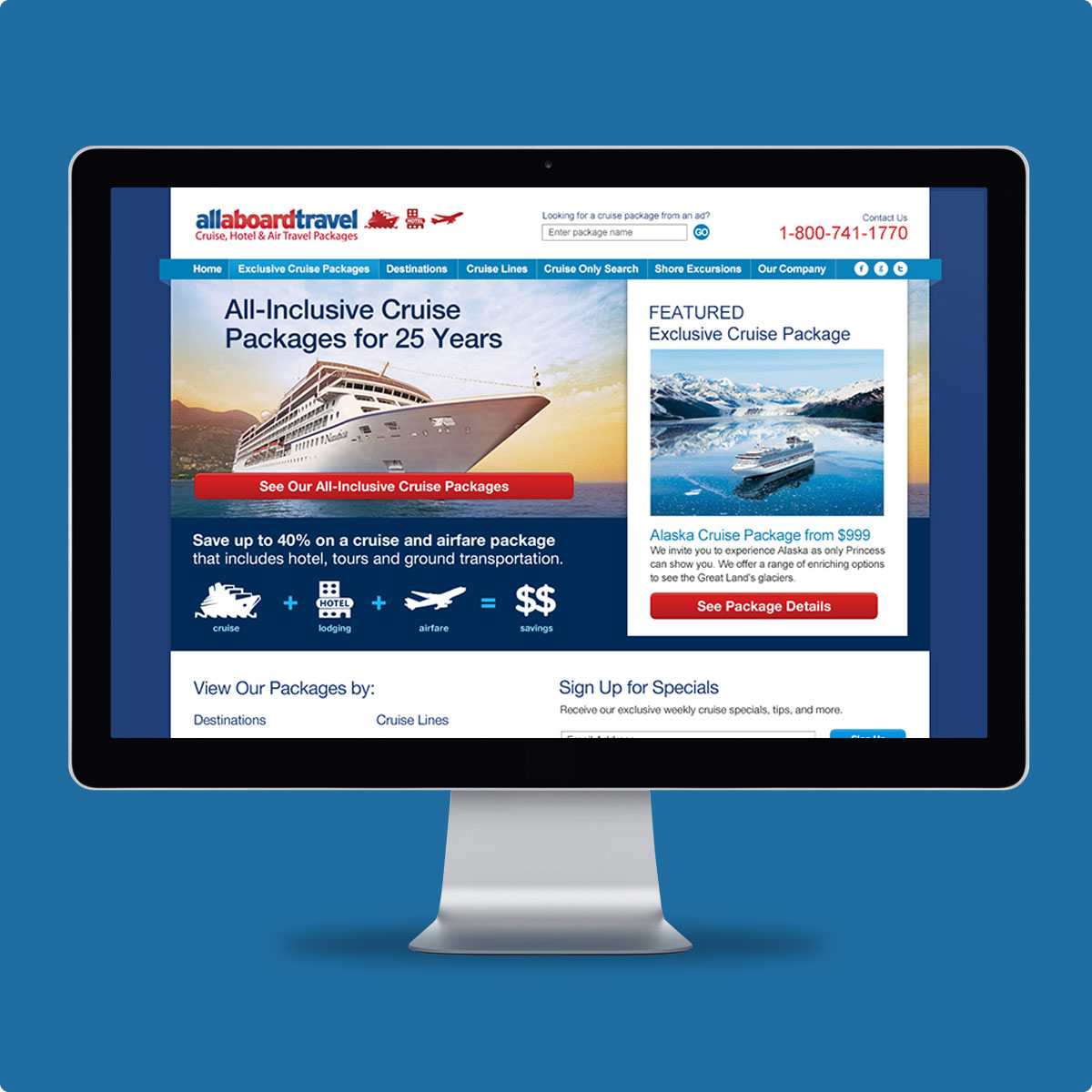 All Aboard Travel Website — Click image to view live site.