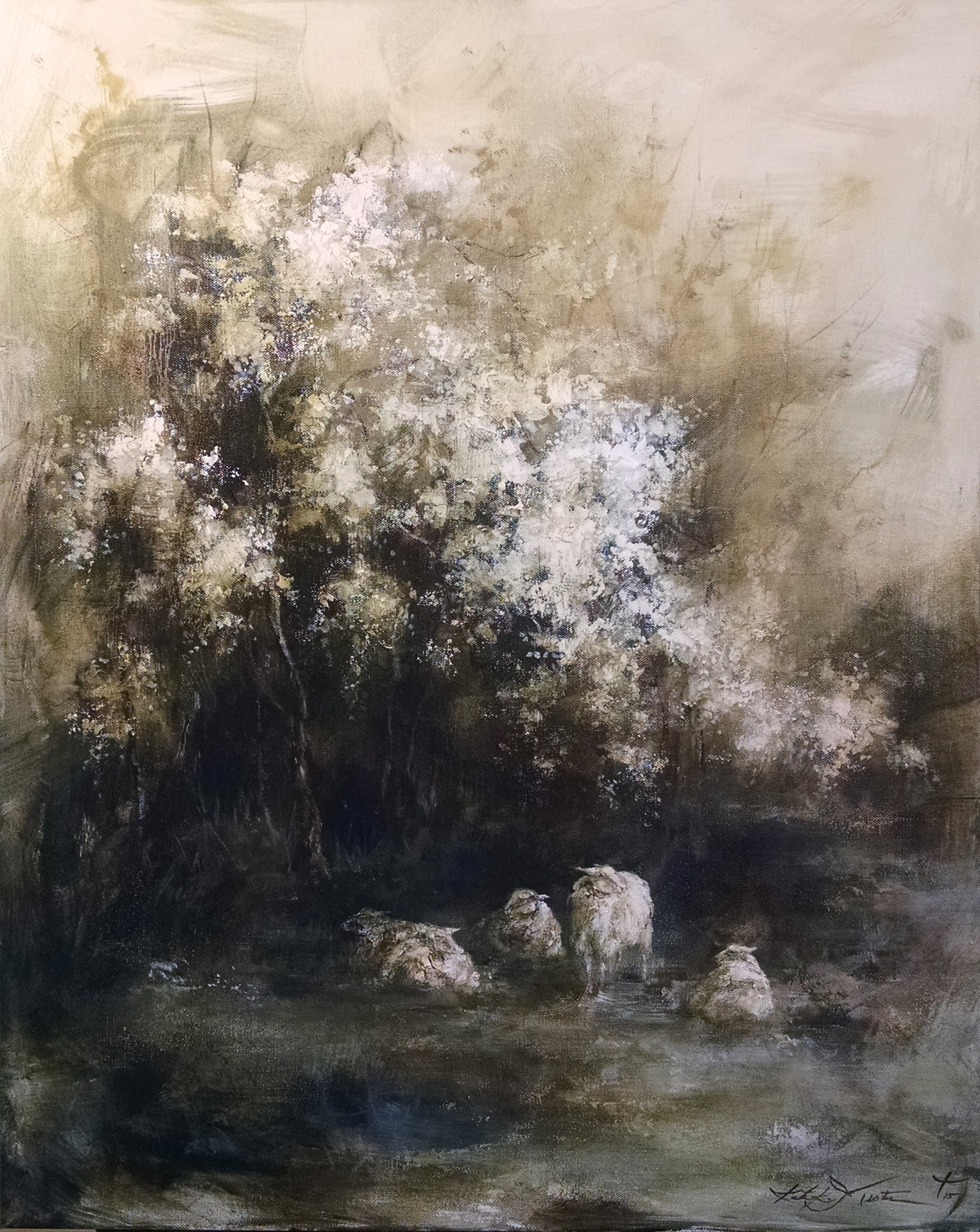 Sheep Under Spring Tree