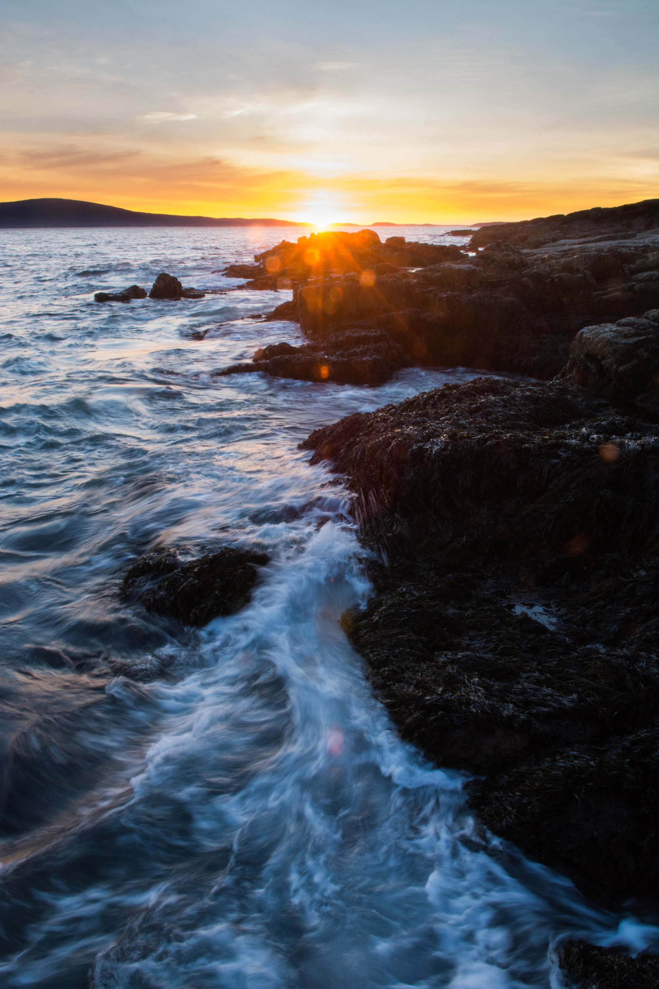 Waves break on the shores of Schoodic Point, part of Acadia National Park.