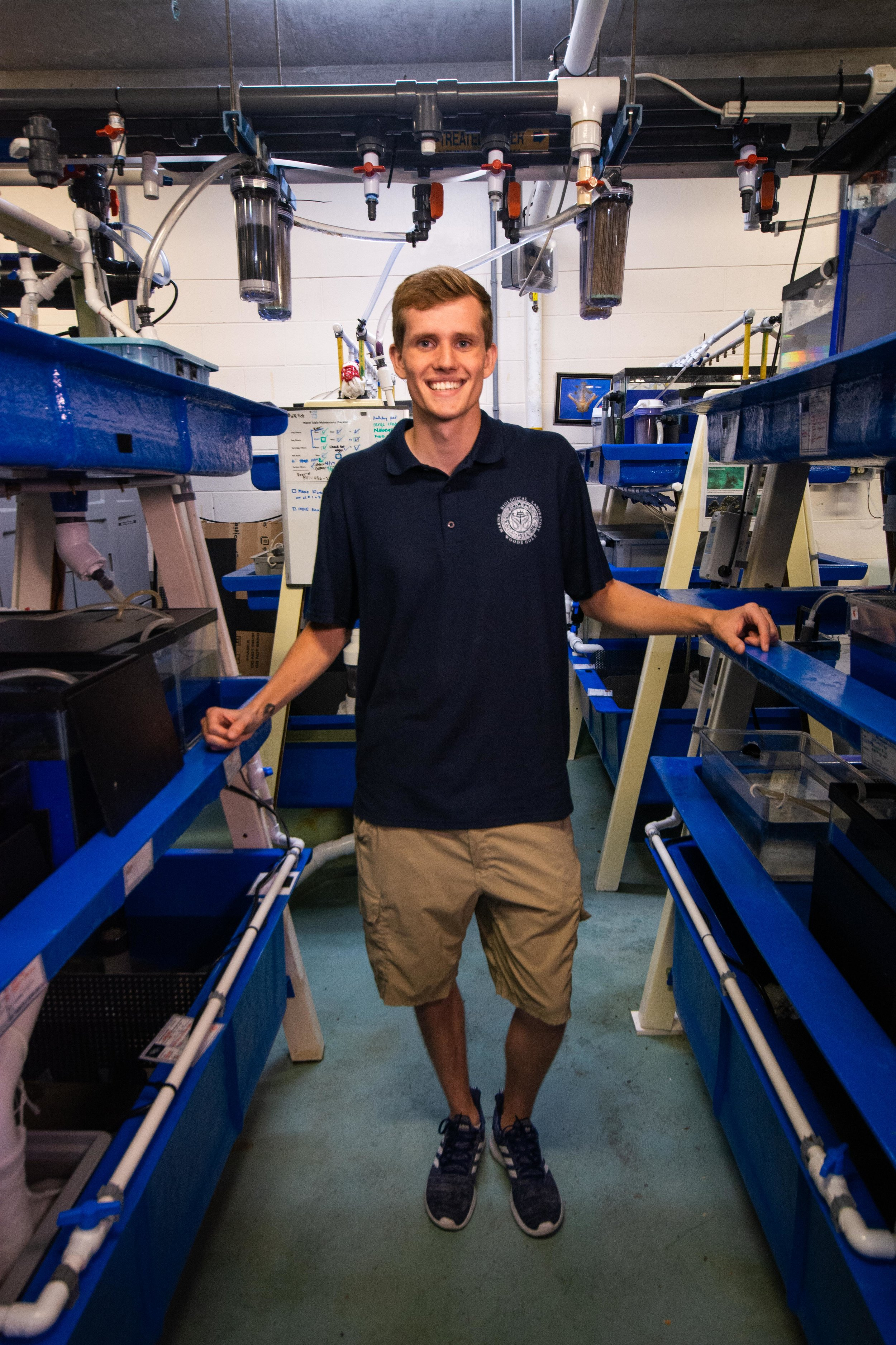 Matt Everett in the lab with his tanks of cephalopods.