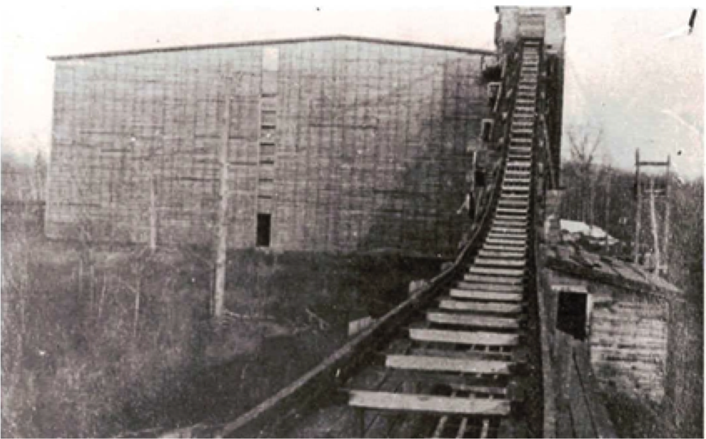 "Berkshire Company Ice House with the ""endless chain"" ascending.  Courtesy Morris Historical Society."