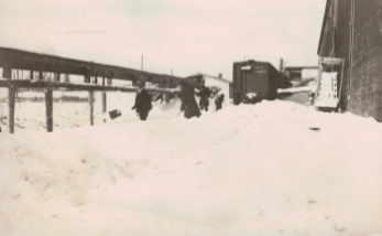 West side of the ice house, with a train car visible.  Courtesy of Bantam Historical Society