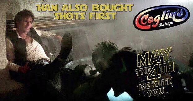 It's Star Wars Day! Looking for a wretched give of scum and villainy? Well that's not us really. Looking for a dance party? Come on down.