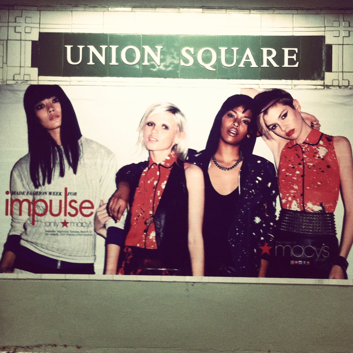ad with Ashley's fabrics for Macy's, NYC subway, (2013)