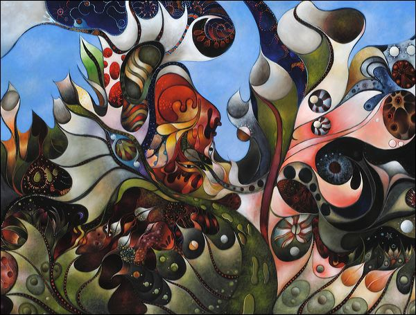 """Isaac Abrams  """"Walking Through Oneness"""" 2007 oil on canvas 48"""" x 63"""""""