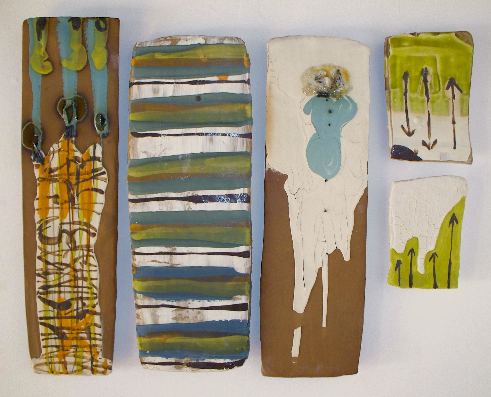 "Pieced sampler: 'make-do pieces', 33"" X 22"" (dimensions variable), stoneware, colored slip, glass, nails, 2008"