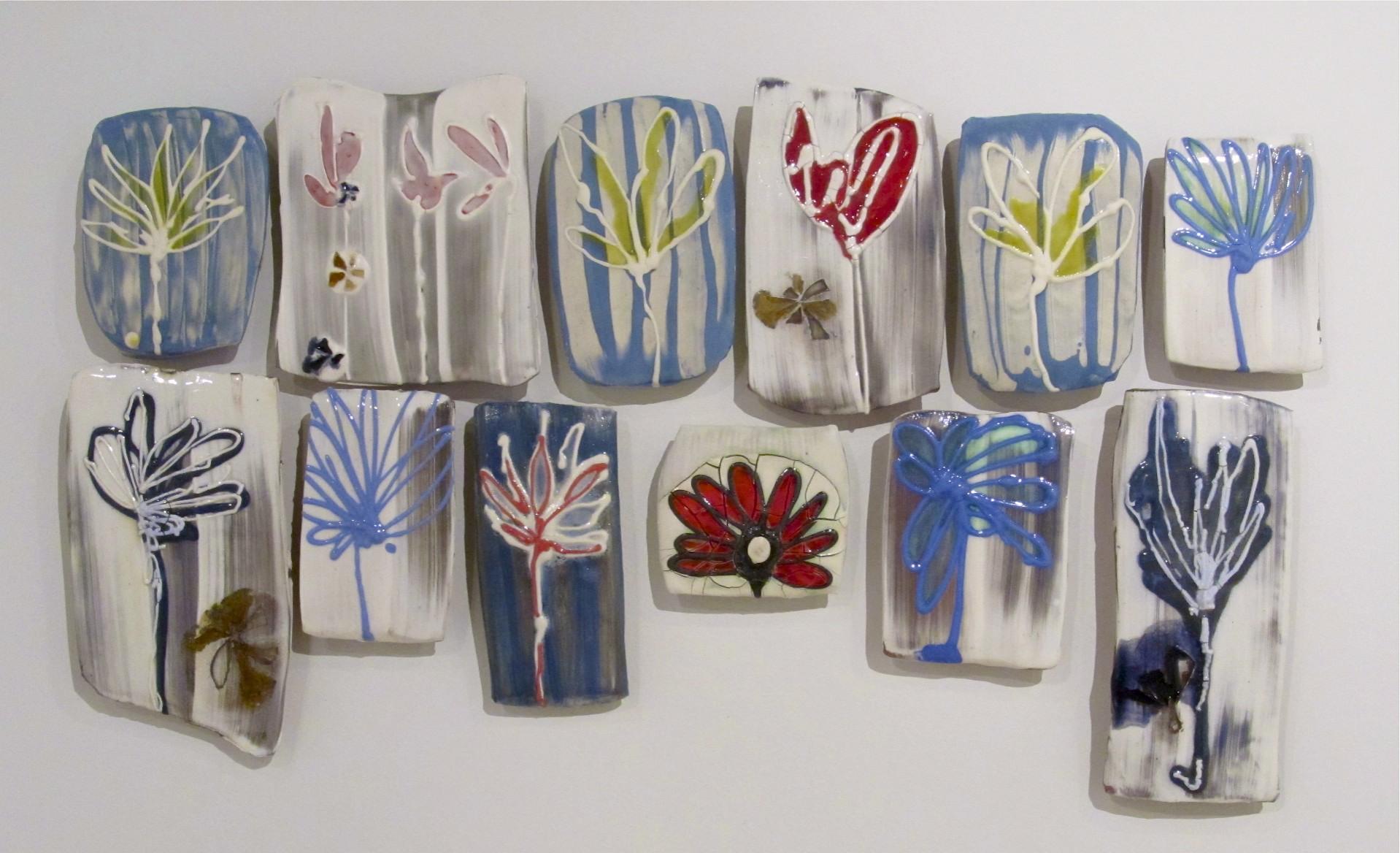 "Pieced Sampler: 'a summer garden stitch', 35"" x 16"" (dimensions variable), porcelain, earthenware, colored slip, glass, glaze, 2012"
