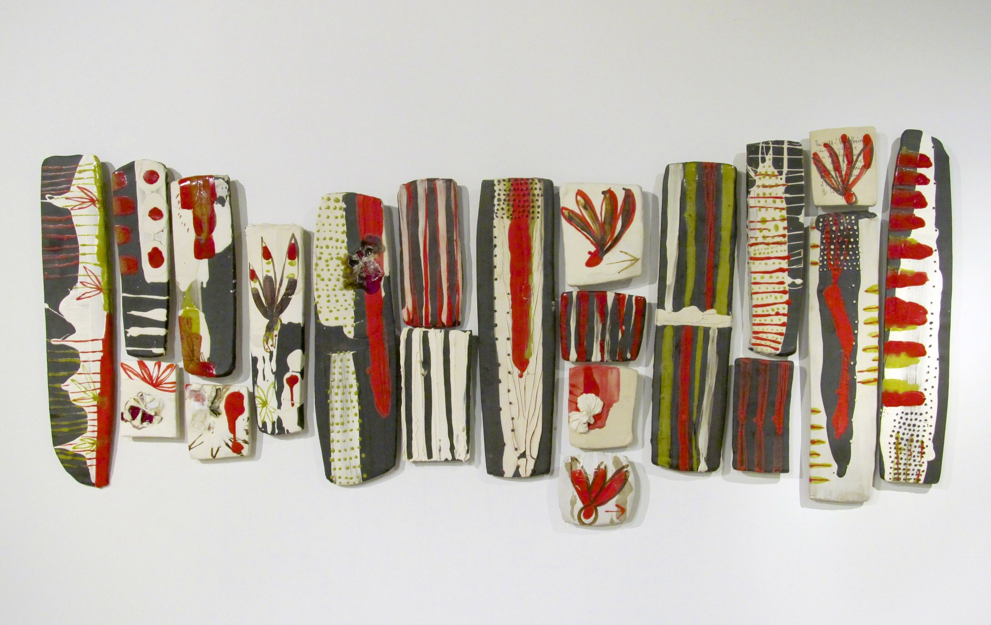 Block and Strips: 'selection and choice, found and realized, mine and yours - № 2' black clay, porcelain, glaze, colored slip, glass 2012