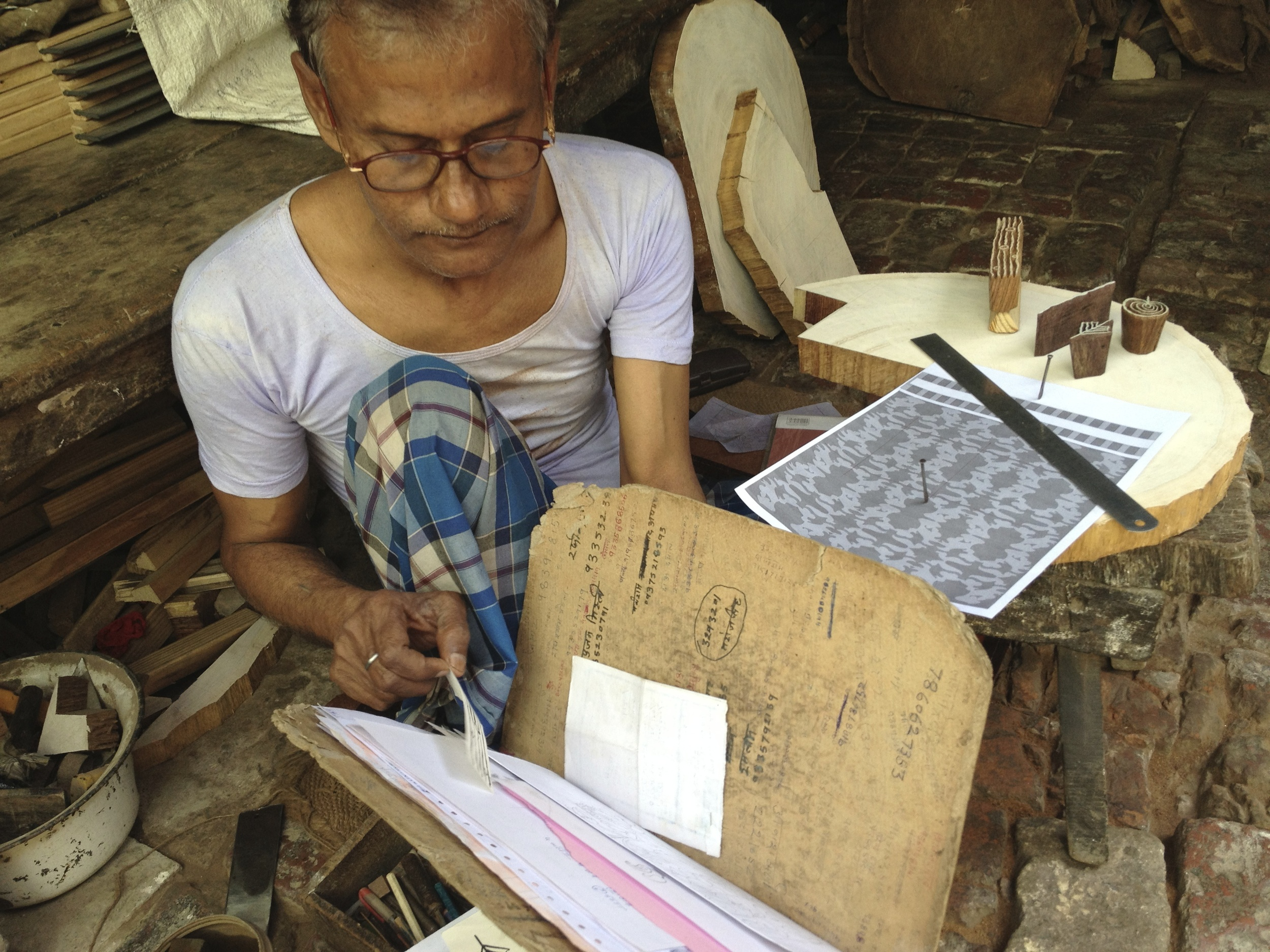 Subbash in his block carving shop, Khojwa, Varanasi, 2013