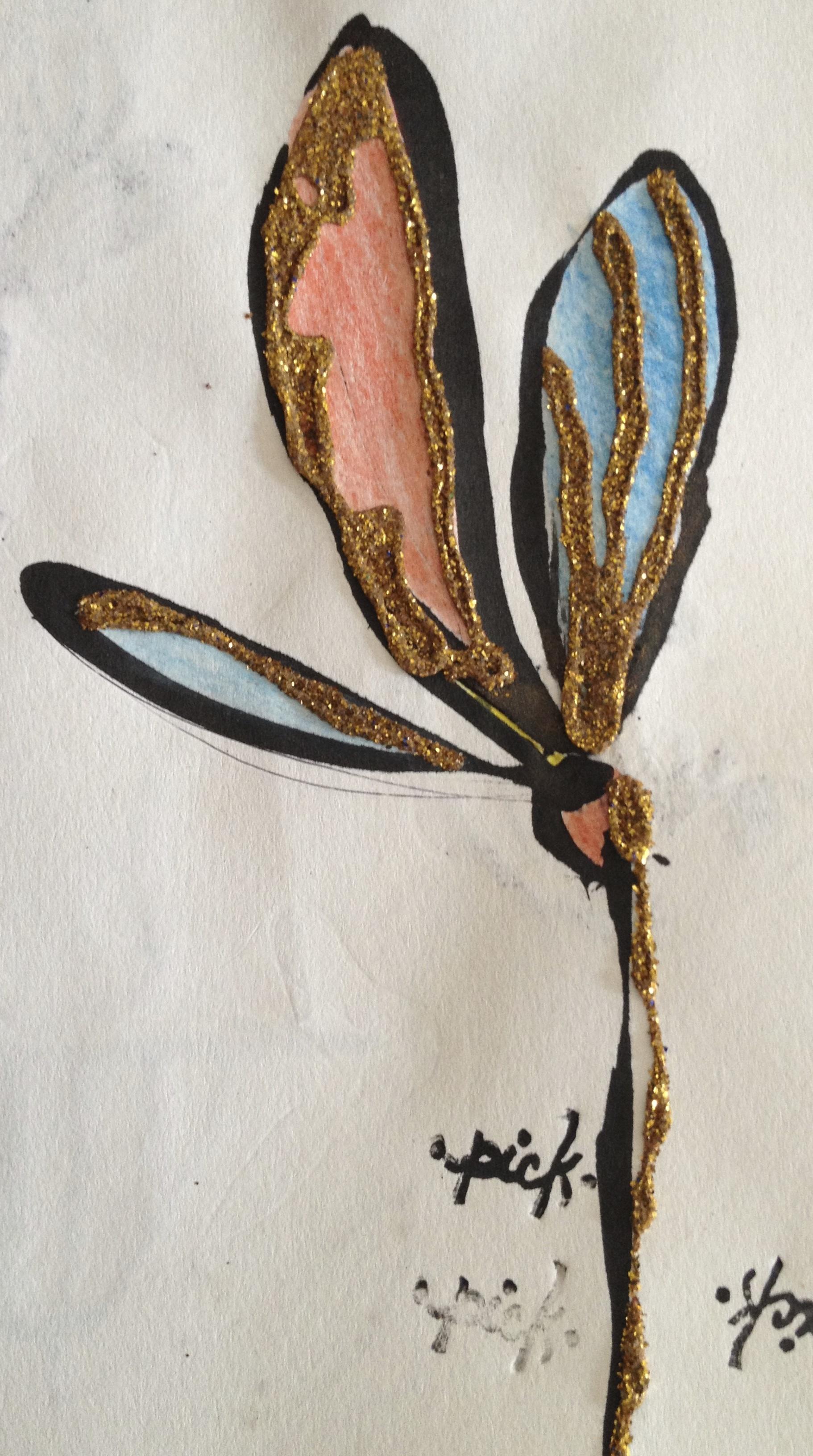 Ink, color pencil, glitter, sketchbook, Varanasi, 2013