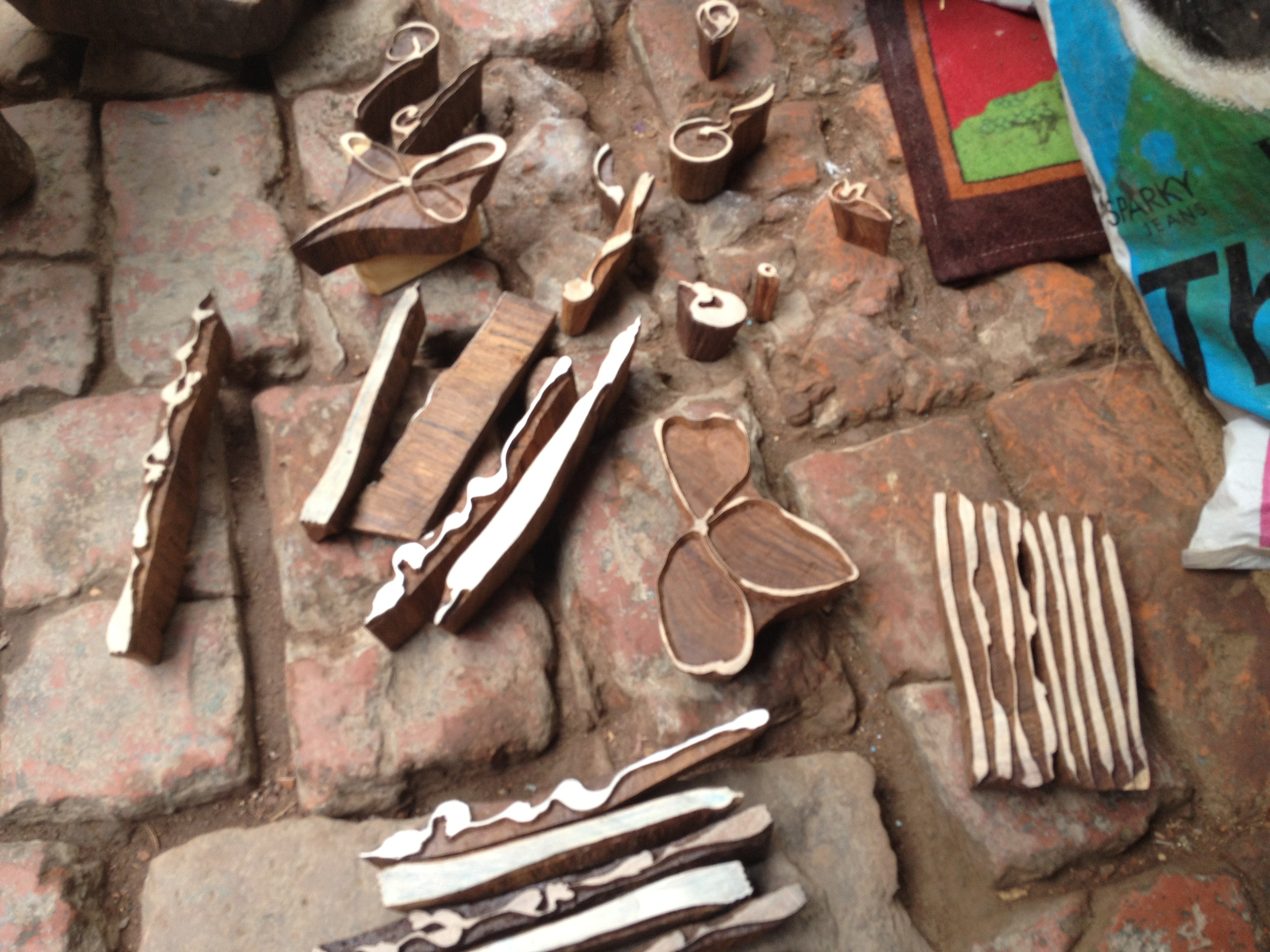 my blocks on floor of shop, Khojwa, Varanasi, 2013