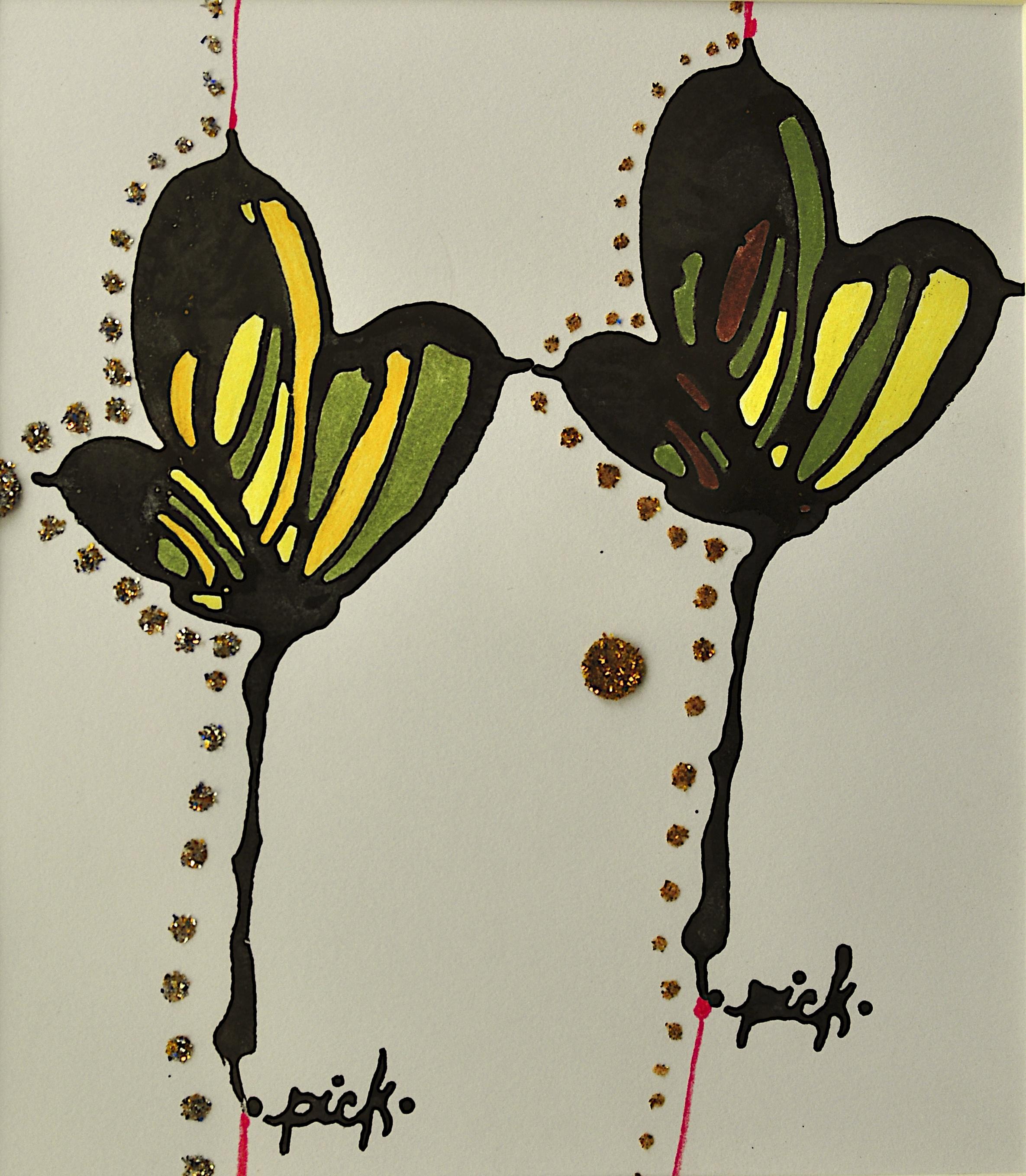 "'they, Assam', handmade paper (Jaipur), block print, ink, glitter, colored pencil, 13"" x 7"", 2013"