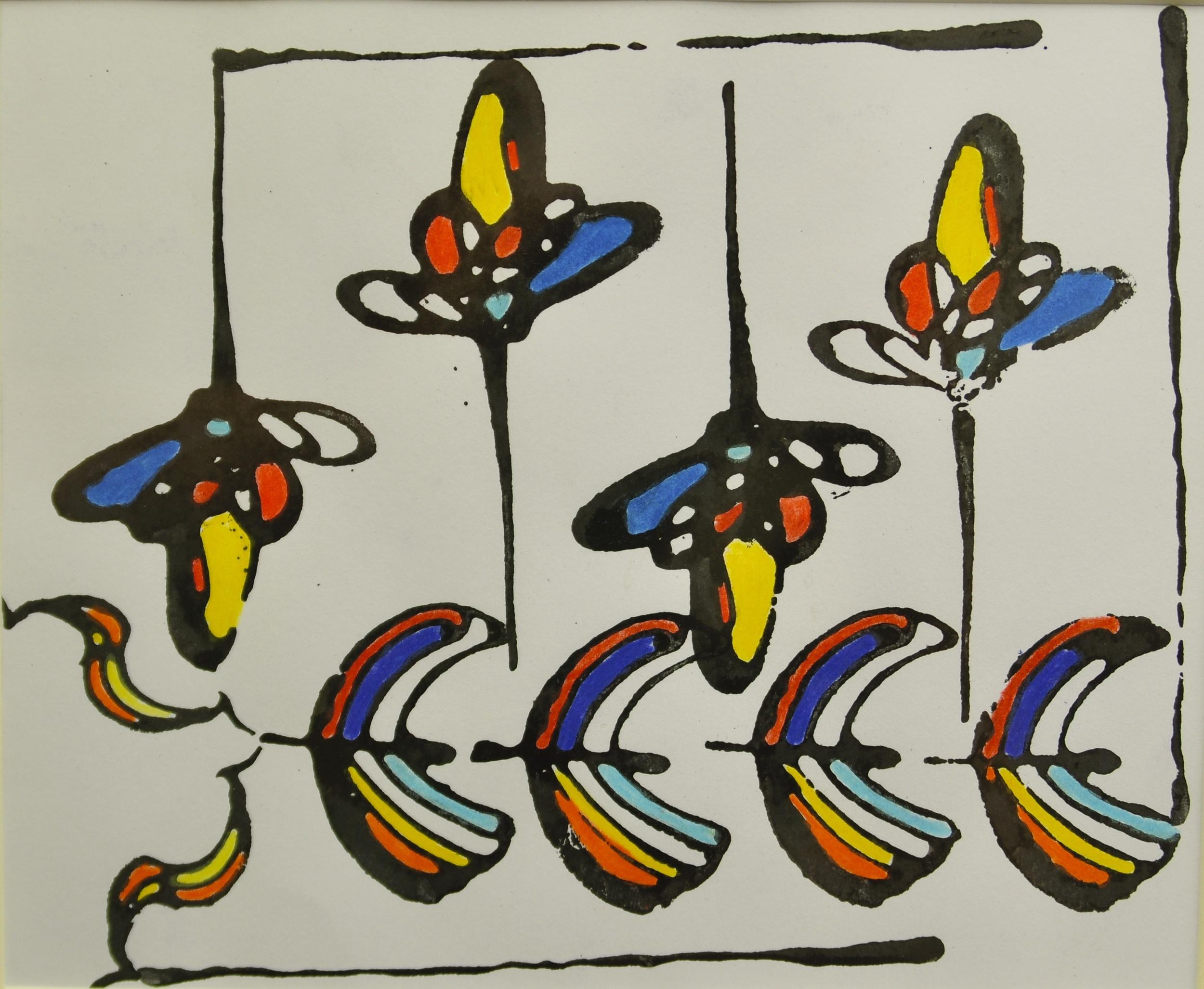 "'Delhi export', handmade paper (Jaipur), block print, colored pencil, 7"" x 7"", 2013"