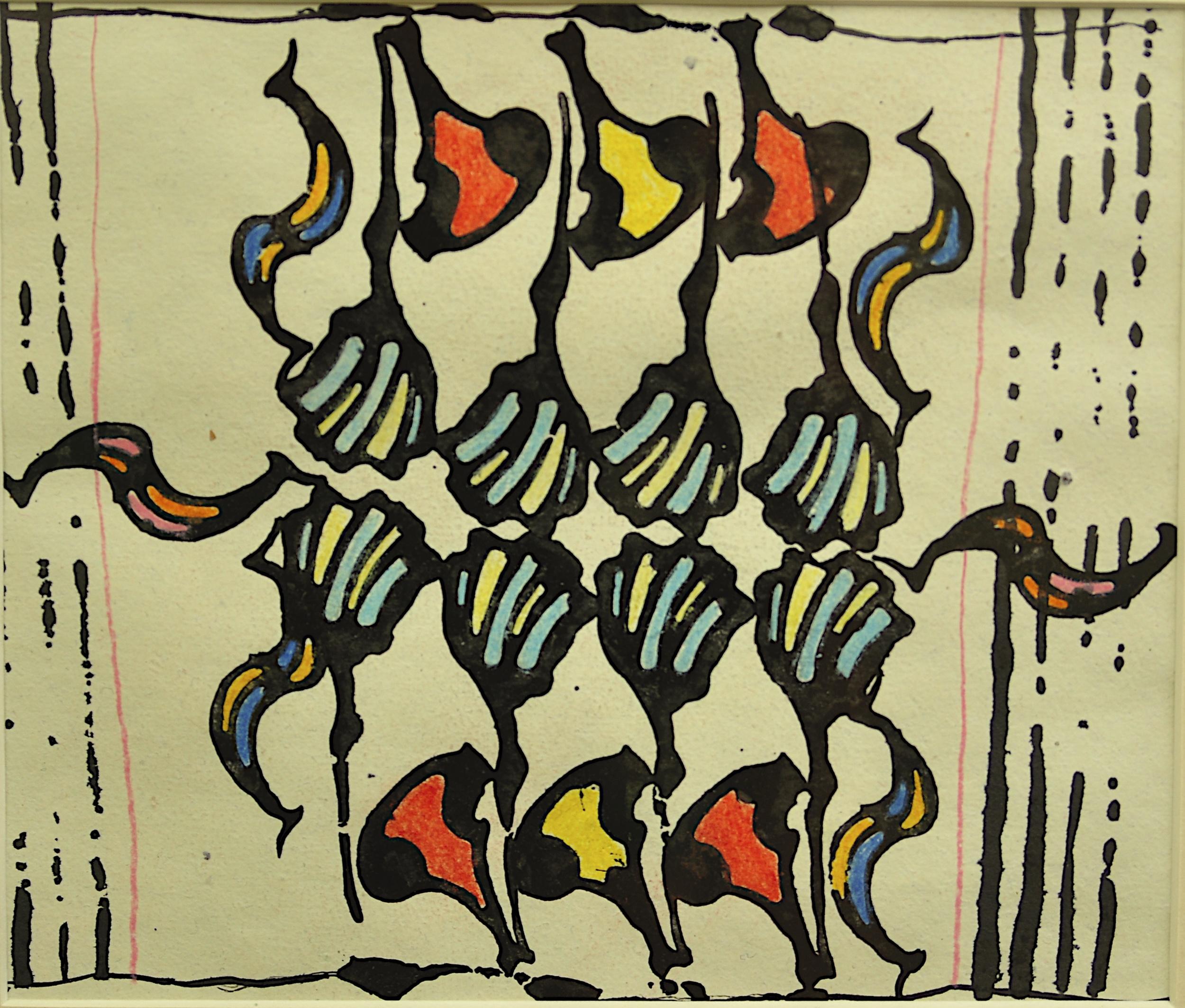 "'at Shivala Ghat', handmade paper (Jaipur), block print, colored pencil, 8"" x 8"", 2013"