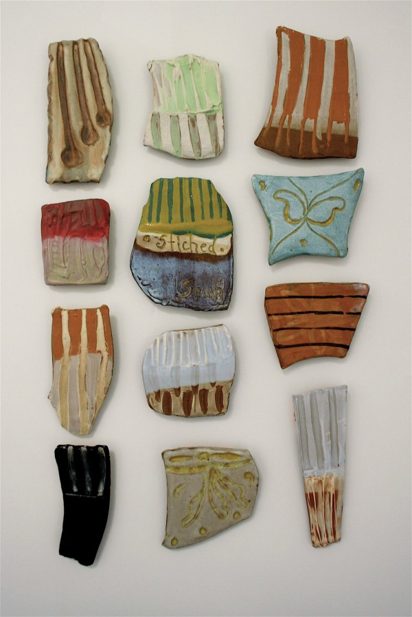 Patch Tile Quilt: 'homespun, seed remain'  stoneware, porcelain, colored slips, glaze 3.5'x 2.5' (dimensions variable) 2007