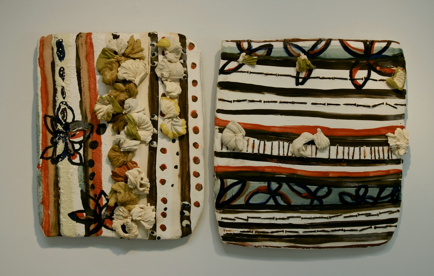 """Coded Memory Tiles: 'with what was left', ceramic, cone 04 oxidation, 19"""" x 32"""", (dimensions variable), 2007"""