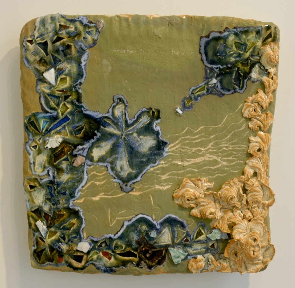 """Coded Memory Tile: 'traces of passage', ceramic, glass, colored slip, cone 04 oxidation, 18"""" x 16"""", (dimensions variable), 2006"""