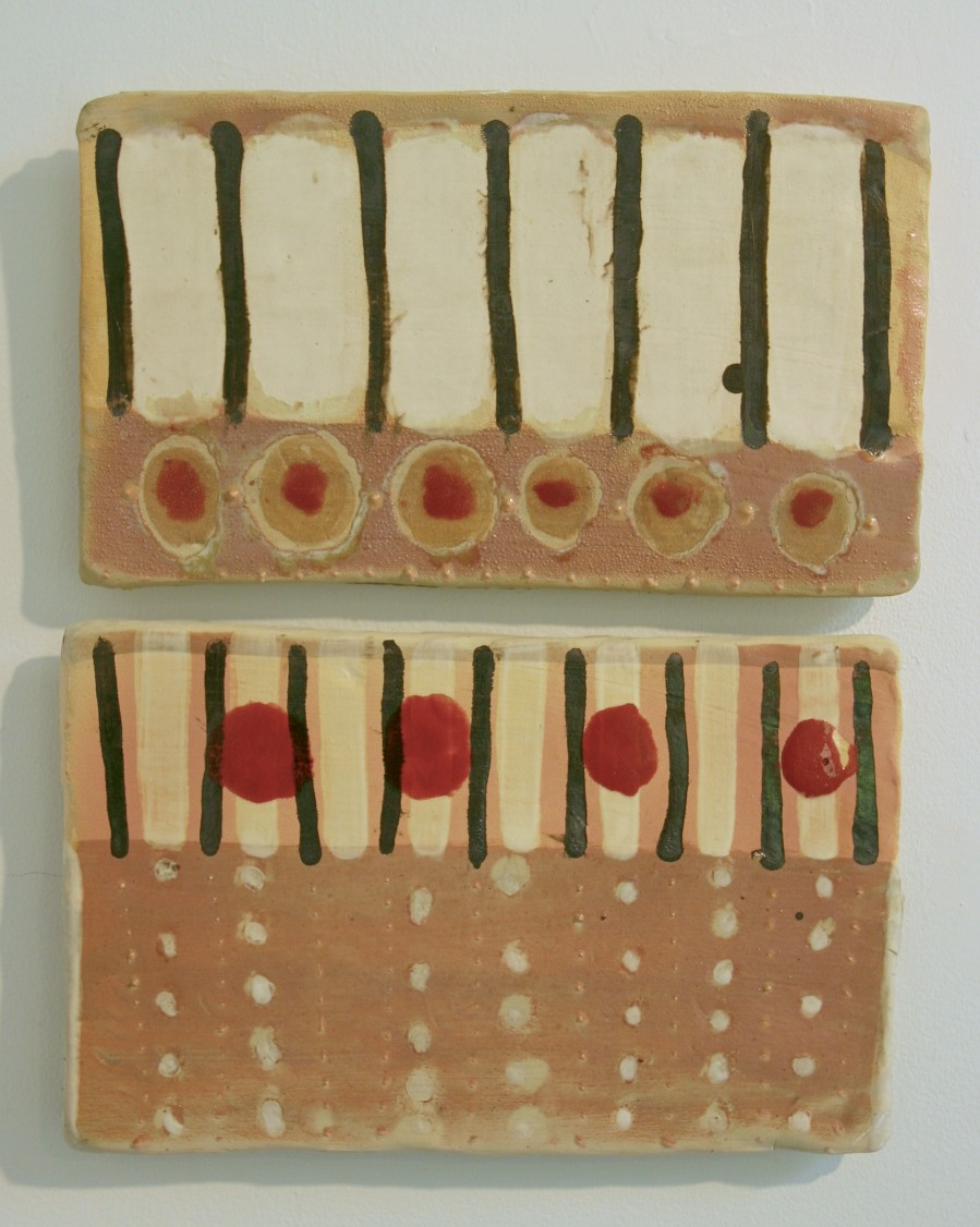 """Strip Piece Tiles: 'so sew, she waited', stoneware, glaze, cone 6 oxidation, 20"""" x 14"""", (dimensions variable), 2007"""