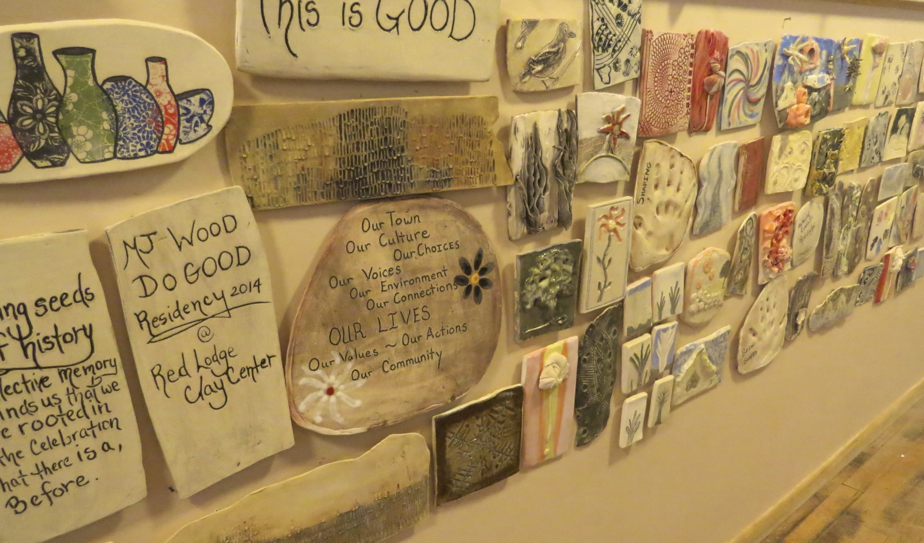 Red Lodge Clay Center, Community Clay Quilt, Workshop, MJ Wood DO-GOOD Residency
