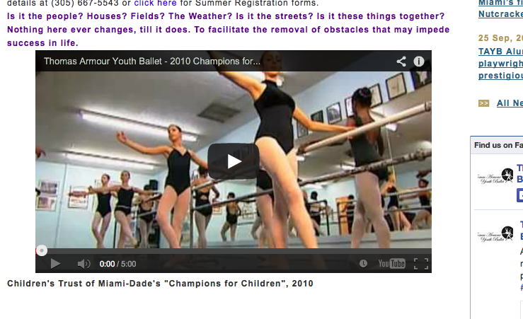 Screen shot from the Thomas Armour Youth ballet website.