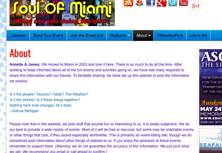 Screen shot from the Soul of Miami website.