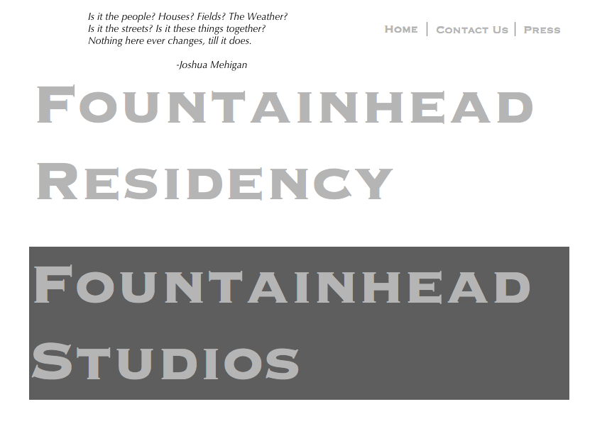 Screen shot from the Fountainhead Residency website.