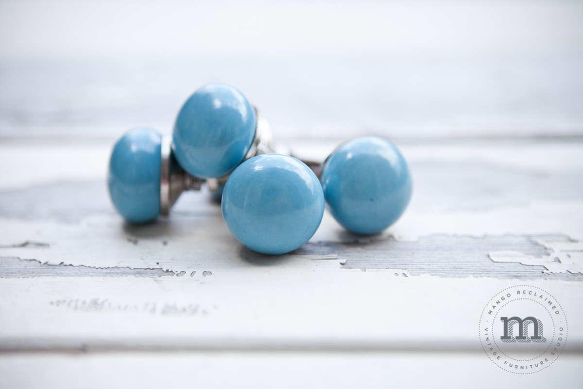 Small Blue Ceramic Knobs