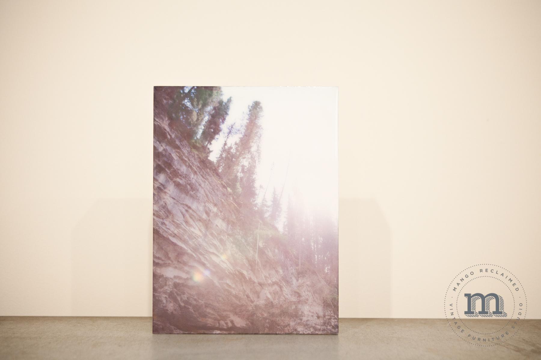"""Sun through trees, Johnston Canyon, Alberta, 8""""x12"""", $95"""