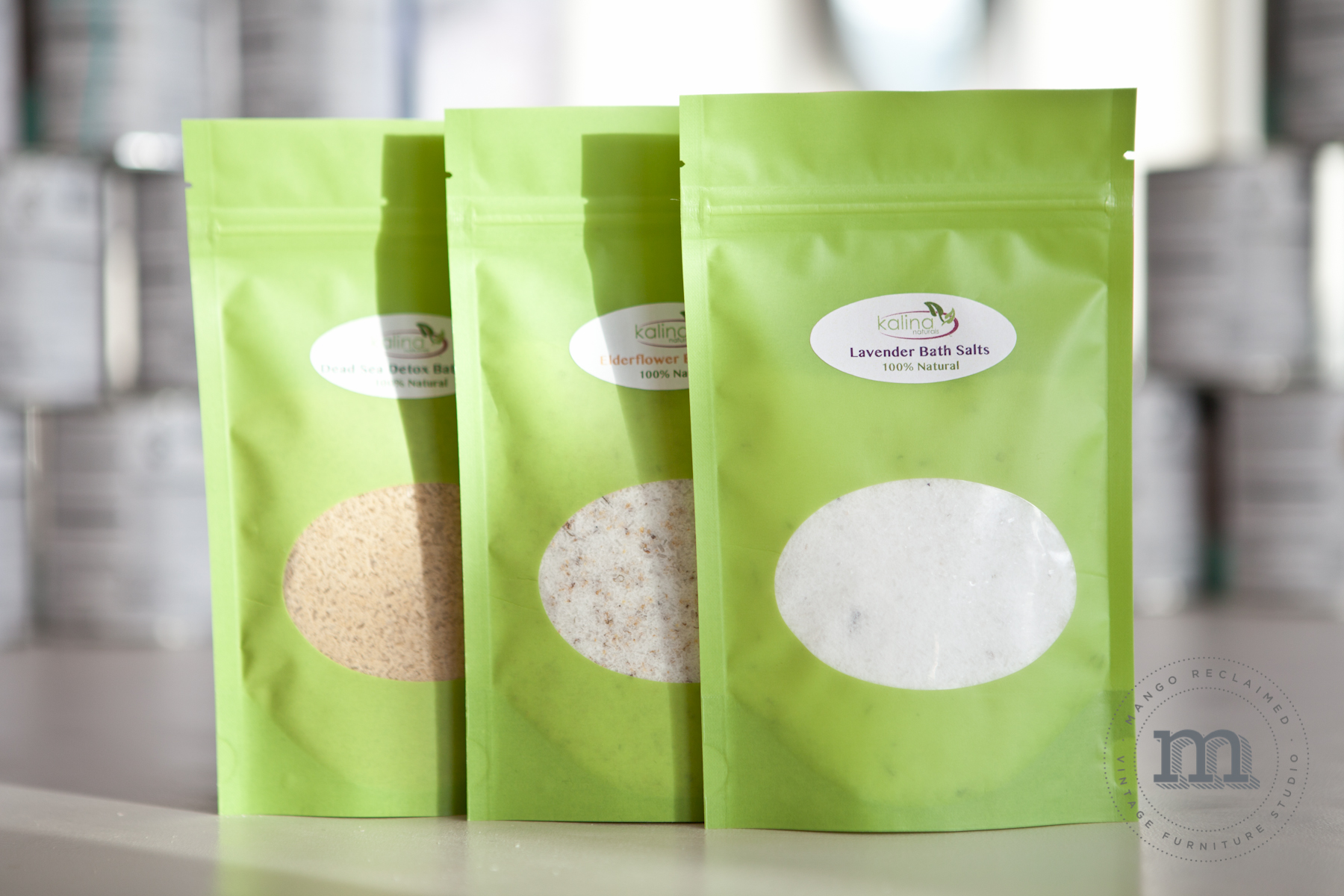 100% natural bath salts are $8/bag.