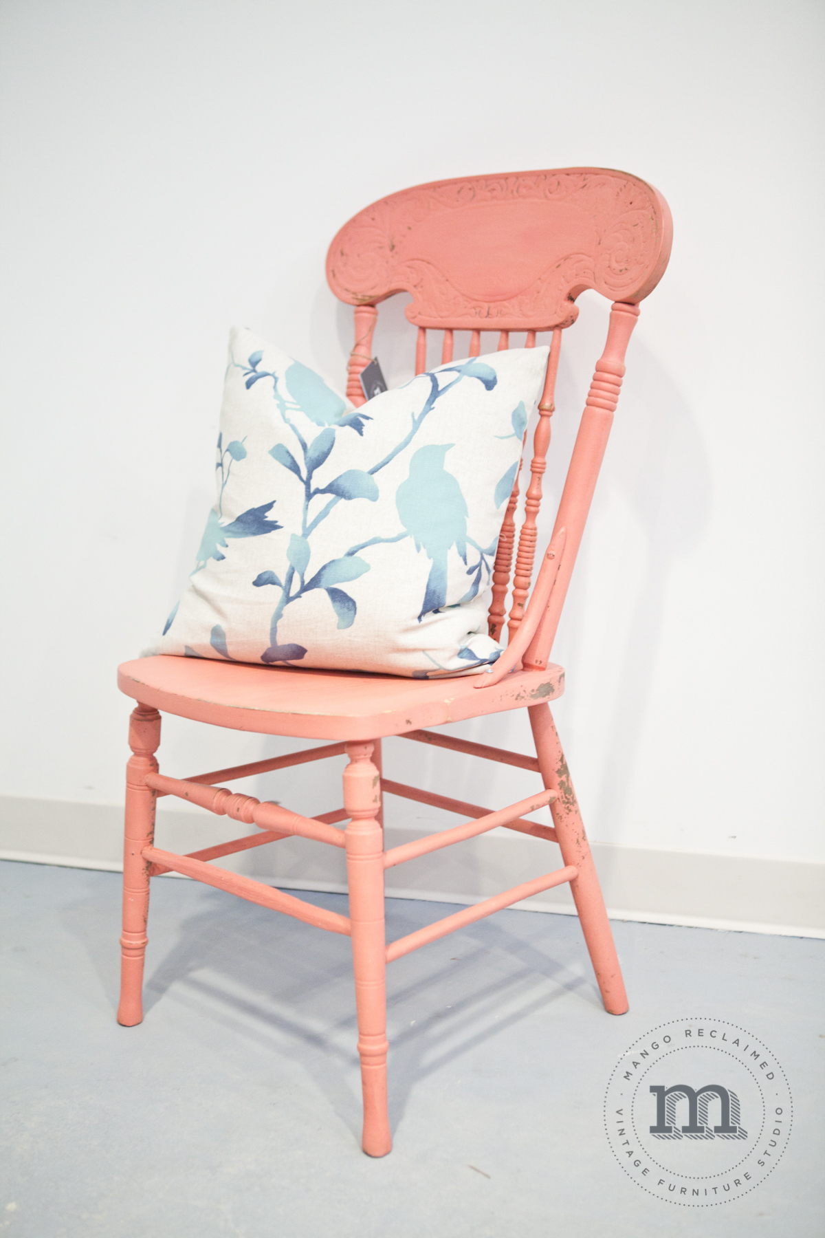 Adorable accent pillow designed by  The Inspiration Nest , also available at Mango Reclaimed and pairs perfectly with this chair. Accent chair, $75, accent pillow including down insert, $60.