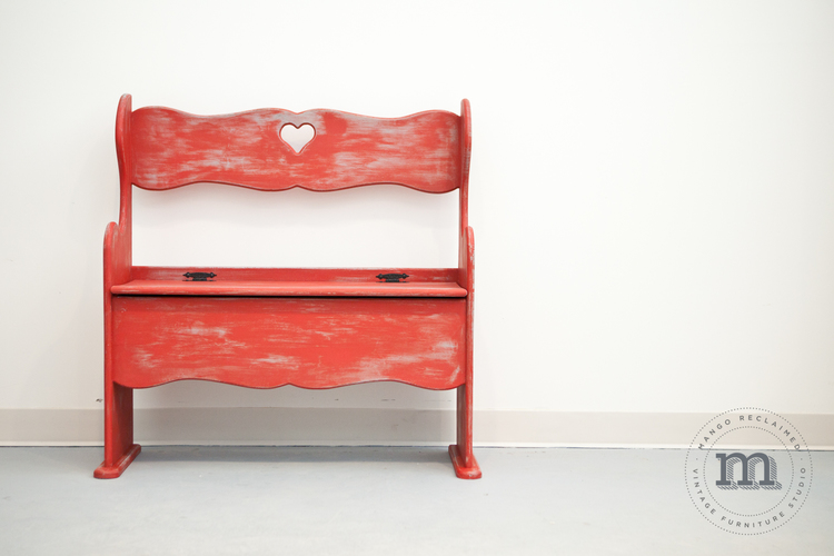 This rustic red painted bench was a custom restyle by yours truly - see more images  here .