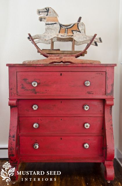 What would a red roundup be without this beautiful feature dresser by Marian (aka: Miss Mustard Seed)! See more  here .