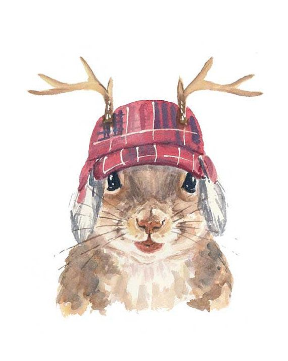 Adorable Canadiana squirrel print available from 'Water In My Paint', on  Etsy  here.