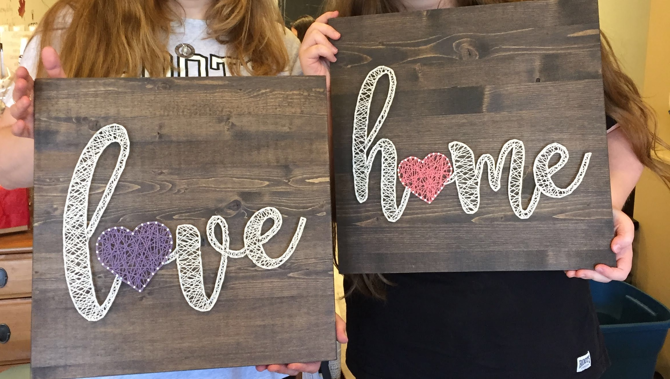 'Love' or 'Home' string art workshop. Sat March 9th, 10am-1pm.