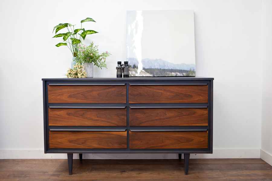 MCM dresser restyled in Mascara on the framework and hemp oiled drawers.
