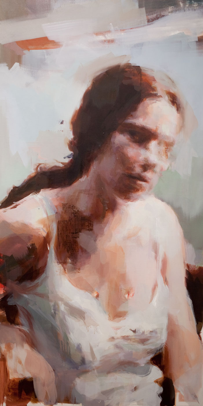 "Anne Claire # 5. 2012, 74"" x 38"" ( 190 x 87 cm) oil on linen"