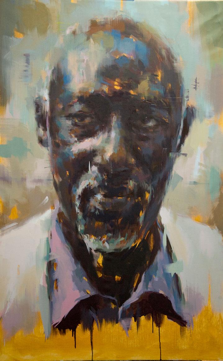 "Amadou . 2009, 38"" x 60"", (97 x 153 cm) oil on canvas"