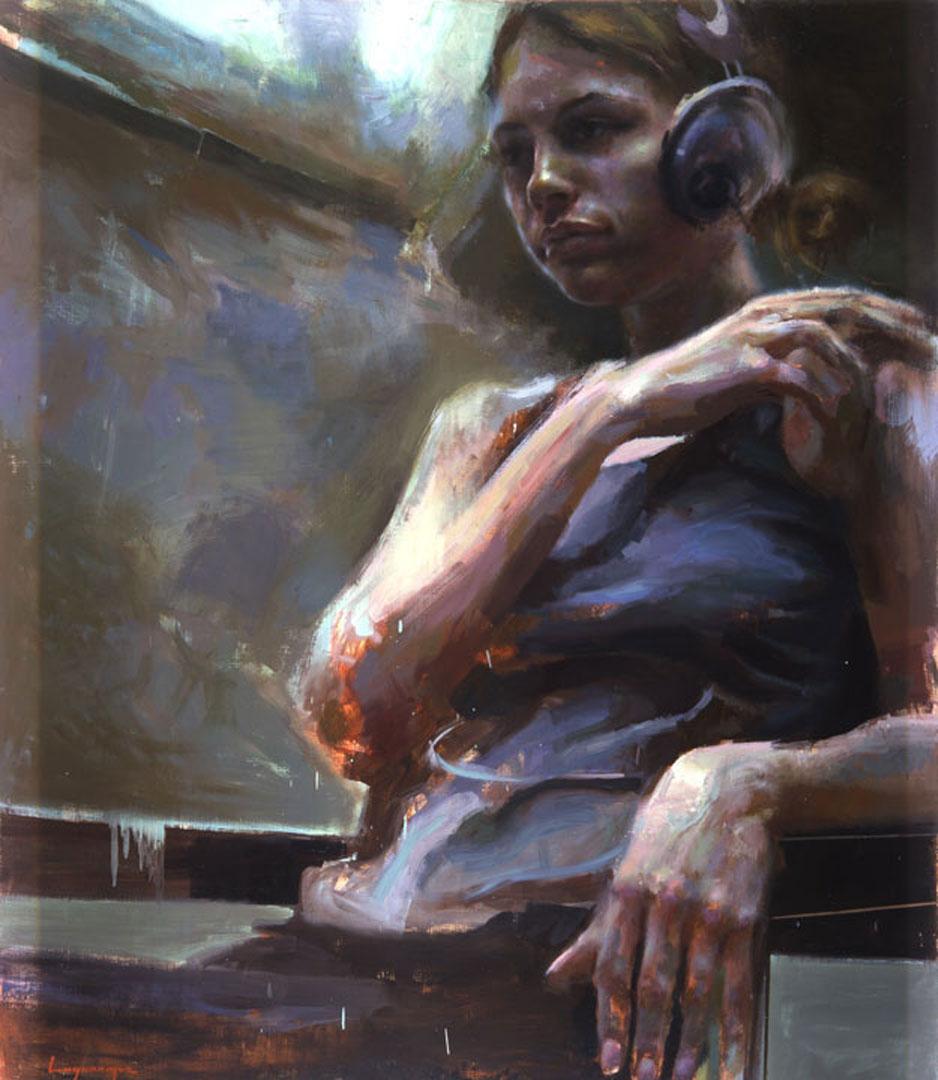 "Monica # 2 . 2005, 60"" x 70"", (152 x 180 cm) oil on canvas"