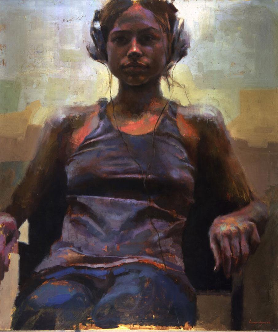 "Monica . 2004, 60"" x 70"" (152 x 180 cm) oil on canvas"
