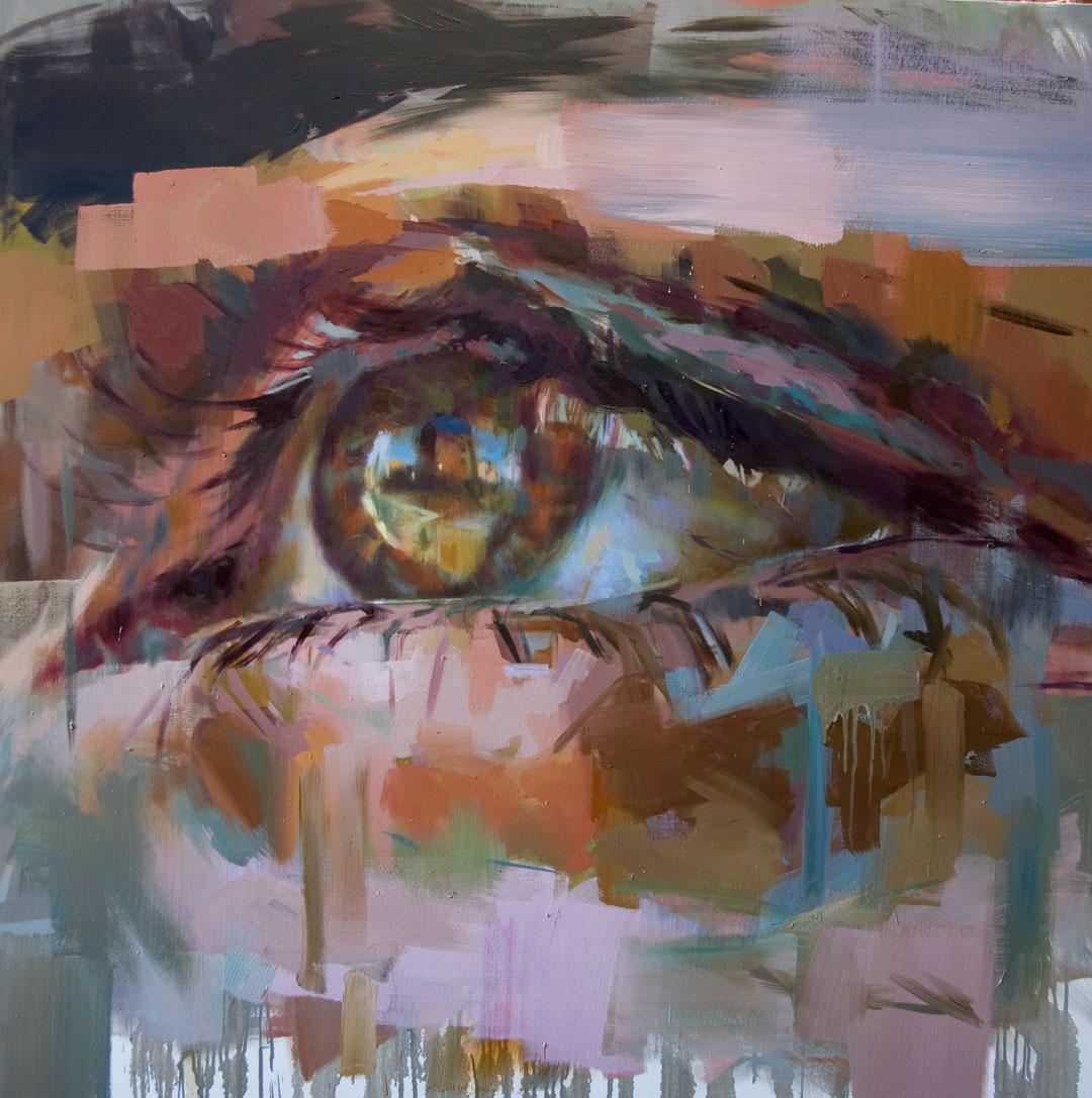 """Eye # 3.  2006, 59"""" x 59"""" (150 x 150 cm) oil on linen"""