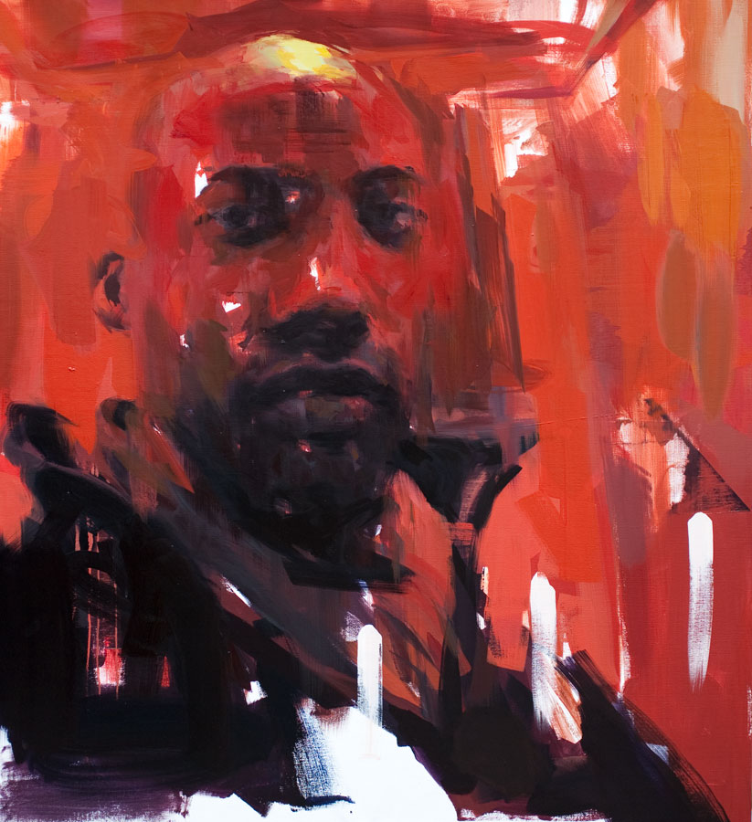 """Red Haze revisited . 2012, 50"""" x 50"""", (130 x 130 cm) oil on canvas"""